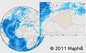 Shaded Relief Location Map of Algeria, lighten, semi-desaturated, land only