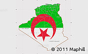 Flag Map of Algeria, flag aligned to the middle