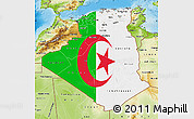 Flag Map of Algeria, physical outside