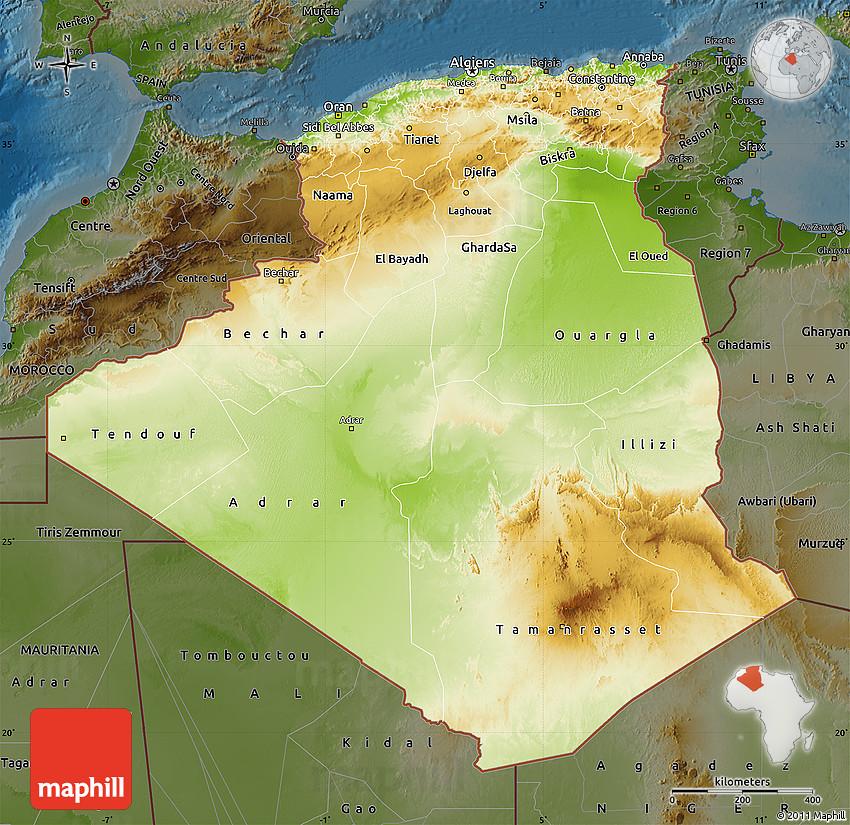 Physical Map Of Algeria Darken - Algeria physical map