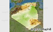 Physical Map of Algeria, darken
