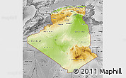 Physical Map of Algeria, desaturated