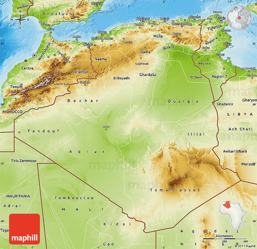 Physical Map Of Algeria - Algeria physical map