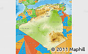 Physical Map of Algeria, political outside, shaded relief sea