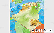 Physical Map of Algeria, political shades outside, shaded relief sea