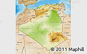 Physical Map of Algeria, satellite outside, shaded relief sea