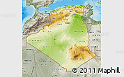 Physical Map of Algeria, semi-desaturated, land only