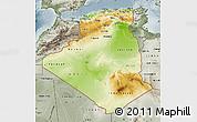 Physical Map of Algeria, semi-desaturated