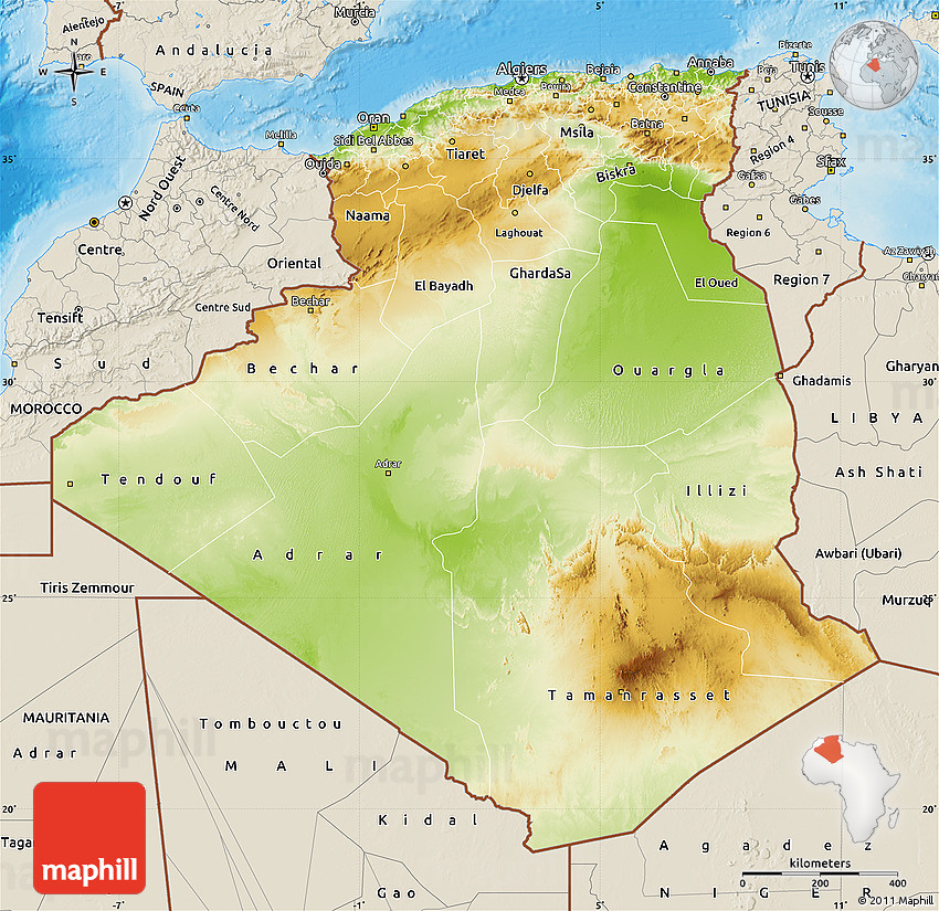 Physical Map Of Algeria Shaded Relief Outside - Algeria map
