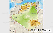 Physical Map of Algeria, shaded relief outside