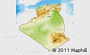 Physical Map of Algeria, single color outside