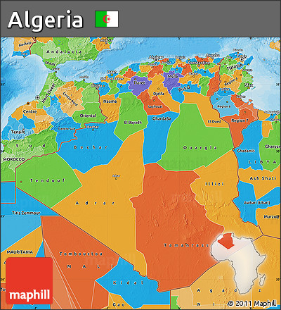 Free Political Map Of Algeria - Political map of algeria