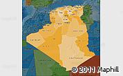 Political Shades Map of Algeria, darken