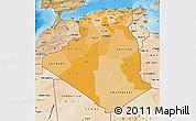 Political Shades Map of Algeria, satellite outside, bathymetry sea