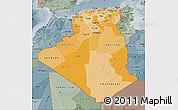 Political Shades Map of Algeria, semi-desaturated