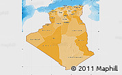 Political Shades Map of Algeria, single color outside