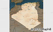 Satellite Map of Algeria, darken