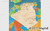 Satellite Map of Algeria, political outside, satellite sea