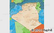 Satellite Map of Algeria, political shades outside, satellite sea