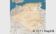 Satellite Map of Algeria, semi-desaturated, land only