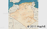 Satellite Map of Algeria, shaded relief outside, satellite sea