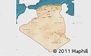 Satellite Map of Algeria, single color outside