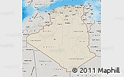Shaded Relief Map of Algeria, semi-desaturated, land only