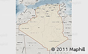 Shaded Relief Map of Algeria, semi-desaturated