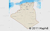 Shaded Relief Map of Algeria, single color outside