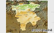 Physical 3D Map of Mila, darken