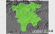 Political 3D Map of Mila, darken, desaturated