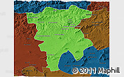 Political 3D Map of Mila, darken