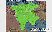 Political 3D Map of Mila, darken, semi-desaturated