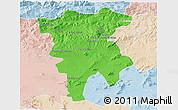 Political 3D Map of Mila, lighten