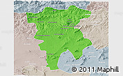 Political 3D Map of Mila, lighten, semi-desaturated