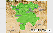 Political 3D Map of Mila, satellite outside