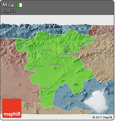 Political 3D Map of Mila, semi-desaturated