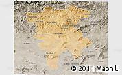 Satellite 3D Map of Mila, semi-desaturated