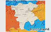 Shaded Relief 3D Map of Mila, political outside