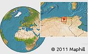 Satellite Location Map of Mila