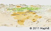 Physical Panoramic Map of Mila, lighten