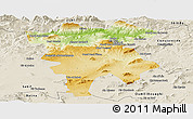 Physical Panoramic Map of Mila, shaded relief outside