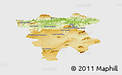 Physical Panoramic Map of Mila, single color outside