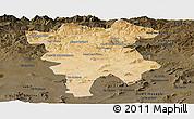 Satellite Panoramic Map of Mila, darken