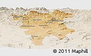 Satellite Panoramic Map of Mila, lighten