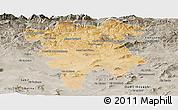 Satellite Panoramic Map of Mila, semi-desaturated