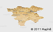 Satellite Panoramic Map of Mila, single color outside