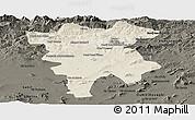 Shaded Relief Panoramic Map of Mila, darken