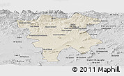 Shaded Relief Panoramic Map of Mila, desaturated