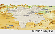 Shaded Relief Panoramic Map of Mila, physical outside